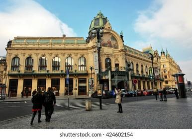 PRAGUE, CZECH REPUBLIC - Feb 13, 2016 View of Municipal House and their art nouveau facades in Prague, Czech Republic on 13th February 2016