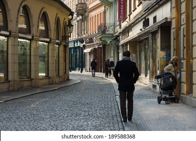 PRAGUE, CZECH REPUBLIC - FEBRUARY 03, 2014: The old streets in the historic center of the Old Town of the Prague.