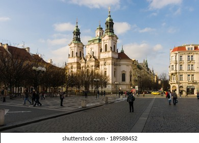 PRAGUE, CZECH REPUBLIC - FEBRUARY 03, 2014: St. Nicholas Church at the Old Town Square in the heart of Old Town of the Prague.