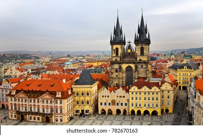 PRAGUE, CZECH REPUBLIC - February 03, 2011: View from the top of the historical center of Prague, Old Town Square and Tyn Church (Church of Mother of God before Tyn)