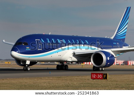 PRAGUE, CZECH REPUBLIC - FEBRUARY 05: Azerbaijan Airlines Boeing 787-8 Dreamliner taxis to take off from PRG Airport on February 05, 2015. AZAL is the flag carrier of Azerbaijan based in Baku.