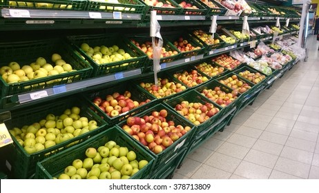 PRAGUE, CZECH REPUBLIC - FEBRUARY 08, 2016: Vegetable section in Tesco grocery store. Tesco was founded in 1919 by Jack Cohen.