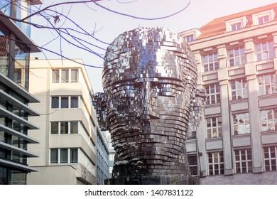 PRAGUE, CZECH REPUBLIC - FEBRUARY 13, 2018: Front view of contemporary sculpture dedicated to Franz Kafka.