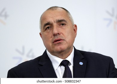 Prague, Czech Republic - February 15, 2016: The Prime Ministers of Bulgaria Boyko Borissov is speaking during a press conference after meeting of The Visegrad Group (V4) in Prague, Czech Republic.