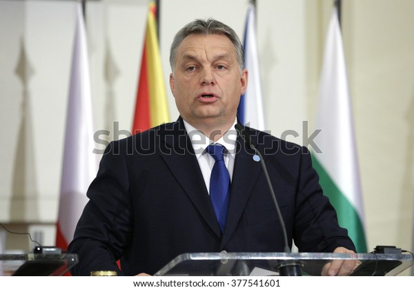Prague, Czech Republic - February 15, 2016: The Prime Ministers of Hungary Viktor Orban is speaking during a press conference after meeting of The Visegrad Group (V4) in Prague, Czech Republic.