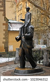 """PRAGUE, CZECH REPUBLIC- February 17, 2016. The Franz Kafka monument in Josefov (the """"jewish quarter"""") in Stare Mesto (literally """"Old Town"""")."""