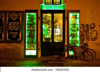Prague, Czech Republic - February 2014: Historical absinthe museum in Prague. Museum-bar window decoration with green light, Prague, Chech Republic