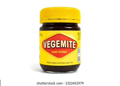 Prague, CZECH REPUBLIC - February 21, 2019: A studio shot of a 220g jar of Vegemite. Vegemite is a very popular yeast based spread in Australia