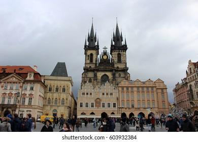 PRAGUE, CZECH REPUBLIC - February 21, 2017: Old Town Square and Tyn Cathedral in  Prague, Czech Republic