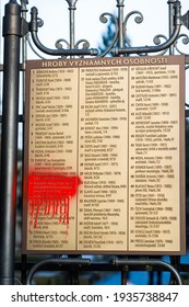 Prague, Czech republic - February 24, 2021. Map and list of famous celebrities buried in Vysehrad cemetery