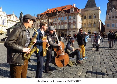 PRAGUE, CZECH REPUBLIC – FEBRUARY 27, 2017: A Dixieland jazz band plays in Prague's Old Town Square on a sunny day.