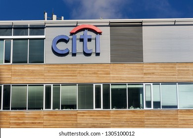 PRAGUE, CZECH REPUBLIC - FEBRUARY 5 2019: Citibank banking and financial company logo on headquarters building on February 5, 2019 in Prague, Czech Republic.