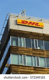 PRAGUE, CZECH REPUBLIC - FEBRUARY 5: DHL logistics company logo on the headquarters building on February 5, 2017 in Prague, Czech republic.