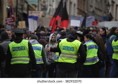 PRAGUE, CZECH REPUBLIC, FEBRUARY 6, 2016 Demonstration against Islam and immigrants, refugees in Prague, police oversees the demonstration, Central Bohemia, Europe, EU