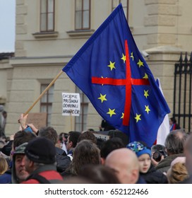 PRAGUE, CZECH REPUBLIC, FEBRUARY 6, 2016: Demonstration radical extremists against the European Union exit, refugees, islam and democracies, flag out European Union deleted, brexit, Europe, EU