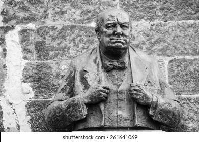 PRAGUE, CZECH REPUBLIC - FEBRUARY 7, 2015: Winston Churchill Memorial Statue in the castle area of Prague.