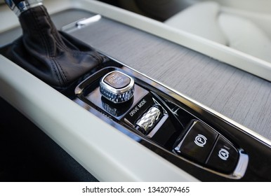 PRAGUE, CZECH REPUBLIC - FEBRUARY 8, 2019: Start-stop button of luxurious Volvo car in Prague, Czech Republic, February 8, 2019