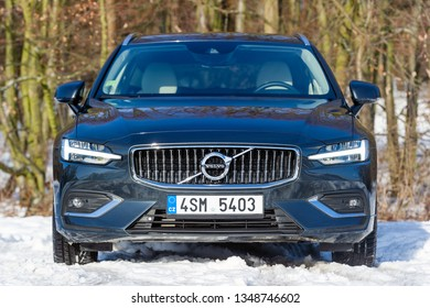 PRAGUE, CZECH REPUBLIC - FEBRUARY 8, 2019: Volvo V60 D4 in Prague, Czech Republic, February 8, 2019