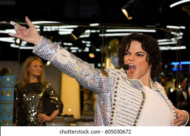 PRAGUE, CZECH REPUBLIC - February 9, 2017: Singer Michael Jackson in Grevin museum of the wax figures on February 9, 2017 in Prague, Czech Republic