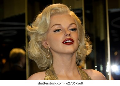 PRAGUE, CZECH REPUBLIC - February 9, 2017: Marylin Monroe in Grevin museum of the wax figures on February 9, 2017 in Prague, Czech Republic