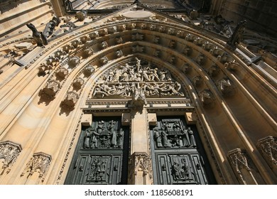 Prague, Czech Republic, a fragment of the entrance to the Gothic Catholic Cathedral of St. Vitus in Prague Castle