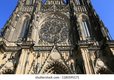 Prague, Czech Republic, fragment Gothic Catholic Cathedral of St. Vitus in Prague Castle