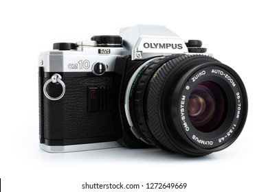 Prague, CZECH REPUBLIC - JANUARY 02, 2019: Olympus OM-10 is a 35mm film camera, launched by Olympus Corporation in June 1979, laid on white background