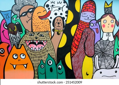 PRAGUE, CZECH REPUBLIC - JANUARY 03: the wall regularly filled with graffiti and paintings at Na Palouku street at Strasnice quarter on Jan 03, 2014 in Prague, Czech Republic