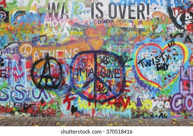 PRAGUE, CZECH REPUBLIC - JANUARY 04: The Lennon Wall since the 1980s is filled with John Lennon-inspired graffiti and pieces of lyrics from Beatles songs on January 05, 2016 in Prague, Czech Republic