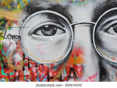 PRAGUE, CZECH REPUBLIC - JANUARY 05: The Lennon Wall since the 1980s is filled with John Lennon-inspired graffiti and pieces of lyrics from Beatles songs on January 05, 2016 in Prague, Czech Republic