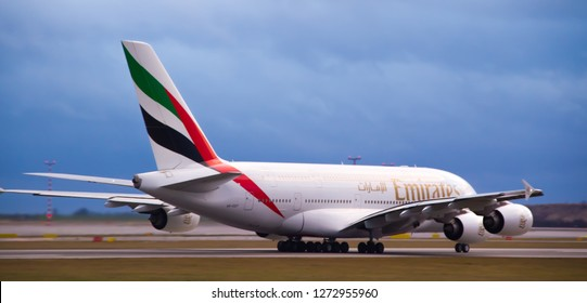 PRAGUE, CZECH REPUBLIC - JANUARY, 1, 2019: Airbus A380-861 (reg. A6-EDT) of an Emirates airline taxiing in Prague airport before takeoff onwards to Dubai.