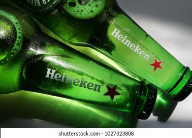 Prague, Czech Republic- January 11, 2018. Bottle of cold Heineken beer.