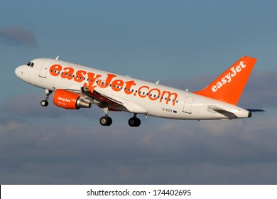 PRAGUE, CZECH REPUBLIC - JANUARY 12: EasyJet Airline Airbus A319-111 takes off from PRG Airport on January 12, 2014. EasyJet is the low cost airline of the United Kingdom
