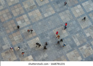 Prague, Czech Republic -January 15, 2020: View of the people on the street from above.