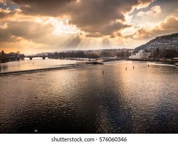 PRAGUE, CZECH REPUBLIC - JANUARY 17: St Dramatic sky over Vltava River, Prague. In Prague, Czech Republic. On 17th January 2017.