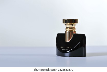Prague, Czech Republic- January 18, 2019. BVLGARI Jasmin Noir luxury perfumes.