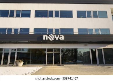 PRAGUE, CZECH REPUBLIC - JANUARY 18: Nova television CME company logo on the headquarters building on January 18, 2017 in Prague, Czech republic.