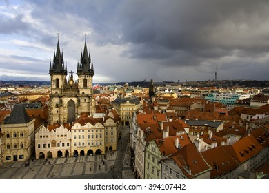 PRAGUE, CZECH REPUBLIC- January 19th 2011: Old Town Square before a storm