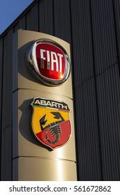 PRAGUE, CZECH REPUBLIC - JANUARY 20: Fiat and Abarth company logo on dealership on January 20, 2017 in Prague, Czech republic. American regulator EPA investigate Fiat Chrysler for emissions cheating.