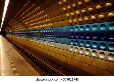 Prague, Czech Republic - January 25: Capture photo of Prague underground on January 25, 2016 in Prague, Czech Republic.