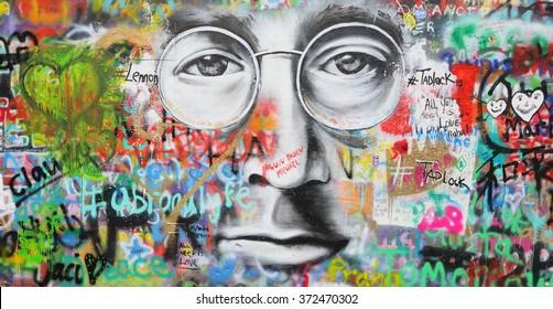 PRAGUE, CZECH REPUBLIC - JANUARY 25, 2016: Wall painting of John Lennon`s face in Prague center. Prague is the capital of the Czech republic.