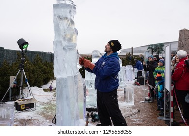 Prague, Czech Republic - January 26, 2019: Ice sculptures with themes comic characters