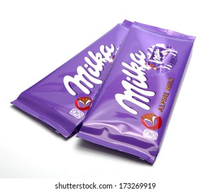 PRAGUE, CZECH REPUBLIC - January 26, 2014: Studio shot of a Swiss Milka Chocolate, manufactured by Mondelez International.