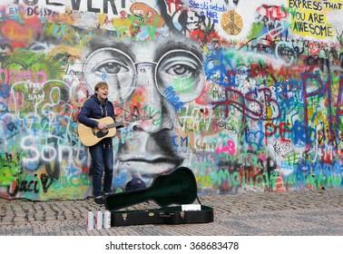 PRAGUE, CZECH REPUBLIC - JANUARY 3:The Lennon Wall since the 1980 filled with graffiti JANUARY 3, 2016 Prague, Czech Republic.