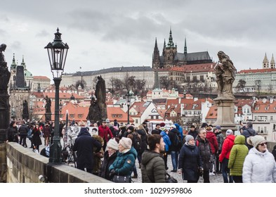 Prague, Czech Republic, January 4th 2018 - City of Prague busy with tourists as the Czech presidential election campaign is taking place