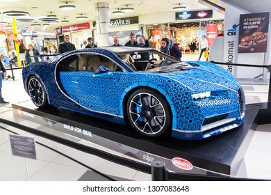 PRAGUE, CZECH REPUBLIC - JANUARY 6 2019: Bugatti Chiron full-size model from Lego bricks stands on January 6, 2019 in Prague, Czech Republic.