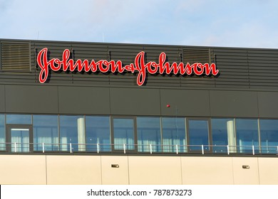 PRAGUE, CZECH REPUBLIC - JANUARY 6: Johnson & Johnson company logo on headquarters building on January 6, 2018 in Prague, Czech Republic.
