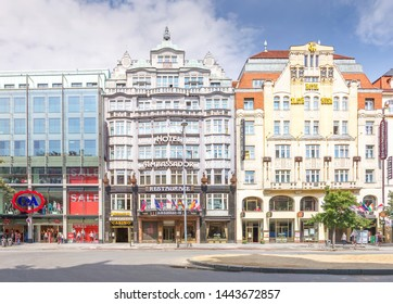 Prague, Czech Republic - Jule 6, 2018: Houses on the Vaclavske Namesti (or Wenceslas Square), one of the main city squares of Prague, where there are large hotels, shops and cafes.