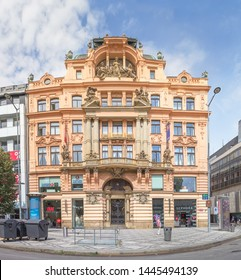 Prague, Czech Republic - Jule 6, 2018: House on the Vaclavske Namesti (or Wenceslas Square), one of the main city squares of Prague, where there are large hotels, shops and cafes.