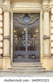 Prague, Czech Republic - Jule 6, 2018: Decorated gateway entrance to the one of the House on the Vaclavske Namesti (or Wenceslas Square).